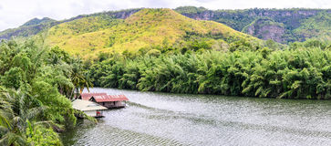 Panoramic view of raft house in kwai river spring seasonal at Kanchanaburi, Thailand Stock Images