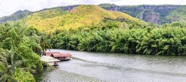 Panoramic view of raft house in kwai river spring seasonal at Kanchanaburi, Thailand Stock Images