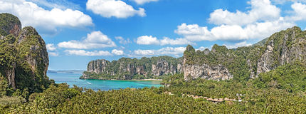 Panoramic view of Railay beach in Krabi, Thailand Royalty Free Stock Photography