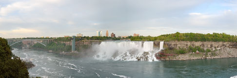 Panoramic view of Rainbow Bridge, American Falls and Bridal Veil Falls Royalty Free Stock Images
