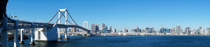 Panorama from Rainbow Bridge. A Panoramic View from Rainbow Bridge in Tokyo royalty free stock images