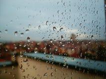 Panoramic view through the raindrops Stock Photo