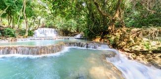 Panoramic view of rainforest waterfall, Tat Kuang Si Waterfall at Luang Prabang, Loas Royalty Free Stock Images