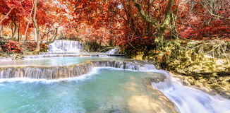 Panoramic view of rainforest waterfall, Tat Kuang Si Waterfall at Luang Prabang, Loas Stock Photo