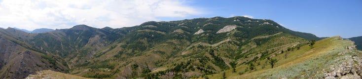 Panoramic view of range of hills. Crimea, Ukraine Royalty Free Stock Photography