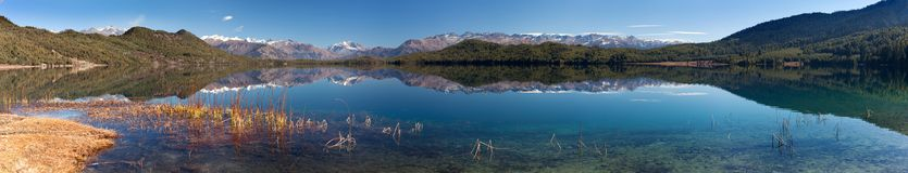 Panoramic view of Rara Daha or Mahendra Tal Lake Stock Images