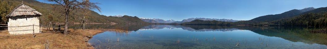 Panoramic view of Rara Daha or Mahendra Tal Lake Royalty Free Stock Photography