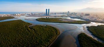 Panoramic view of Ras al Khaimah over mangrove forest in the UAE. United Arab Emirates aerial, skyline, panorama, creek, water, rak, tower, cityscape, cornish royalty free stock photo