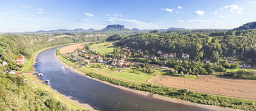 Panoramic view of Rathen and Elbe river, Germany Stock Photography