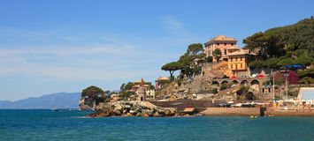 Panoramic view on Recco-popular touristic resort. Panoramic view on Recco - popular touristic resort on Mediterranean Sea in Italy Stock Photos