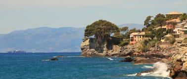 Panoramic view on Recco-popular touristic resort. Stock Photos