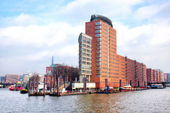 Panoramic view of red brick Hamburg buildings Stock Photography