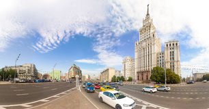 180 panoramic view of the Red Gate Building and Garden-Spasskaya Royalty Free Stock Photography