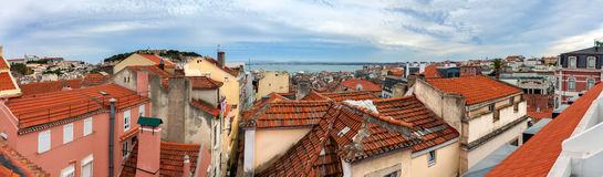 Panoramic view of red roofs in Lisbon Royalty Free Stock Photos