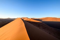 Panoramic view of red sand dunes in Sossusvlei near Sesriem in famous Namib Desert in Namibia, Africa. Sossusvlei is a popular tourist destination, the dunes Stock Photography