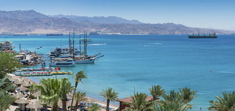 Panoramic view on Red Sea from central beach of Eilat. Eilat is a famous resort city in Israel Stock Photos