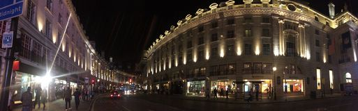 Panoramic view Regent street, London Royalty Free Stock Images
