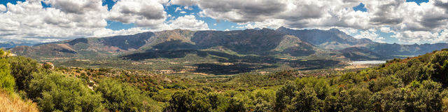 Panoramic view of Regino valley in Balagne region of Corsica Royalty Free Stock Images