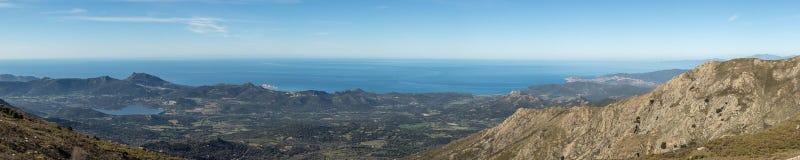 Panoramic view of Regino valley and coastline of Corsica Royalty Free Stock Photo