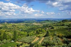 Panoramic view of the Region Tuscany, Italy. Fotost filmed in 2018. Panoramic view of the Region Tuscany, Italy royalty free stock images