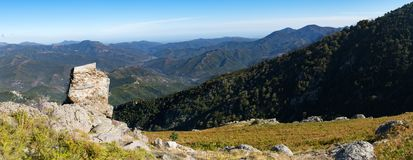 Panoramic view of the Regional Natural Park of Corsica, taken in central Corsica on the slopes of Monte Cardo. Looking out across Venaco and its local region stock photo