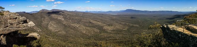 Panoramic view from Reid`s Lookout and the balconies, The Grampians, Victoria, Australia, stock image