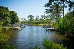Panoramic View of a Relaxing Pond in Florida. Niceville, Florida. Panoramic View of a Relaxing Pond in Florida on Blur Background. Niceville, Florida royalty free stock image