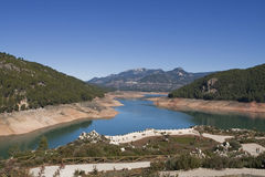 Panoramic view of reservoir of Tranco at half of its capacity Stock Photo