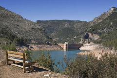 Panoramic view of reservoir of Tranco at half of its capacity Royalty Free Stock Images