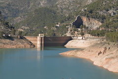 Panoramic view of reservoir of Tranco at half of its capacity Stock Images