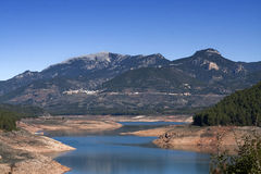 Panoramic view of reservoir of Tranco at half of its capacity Stock Photography