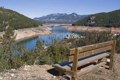Panoramic view of reservoir of Tranco to 89 % of its capacity Royalty Free Stock Images