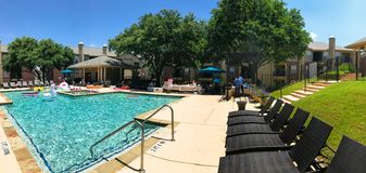 Panoramic view resident pool party event at apartment complex near Dallas, Texas