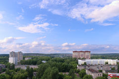 Panoramic view of residential buildings among trees Royalty Free Stock Images