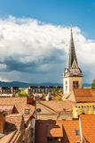 Panoramic view of residential district with church tower Royalty Free Stock Photo