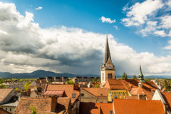 Panoramic view of residential district with a church tower Royalty Free Stock Photo
