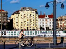 Panoramic View of the Danube in Budapest with cruise boat stock photography