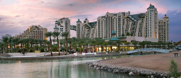 Panoramic view on resort hotels of Eilat, Israel stock image