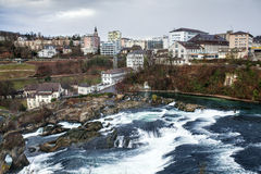 Panoramic view on Rhine Falls; Switzerland; Royalty Free Stock Images
