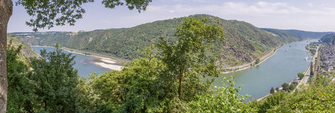 Panoramic view of Rhine River from Gunderodehaus Restaurant above Oberwesel Royalty Free Stock Photo