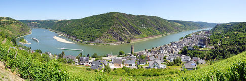 Panoramic view on Rhine river  Royalty Free Stock Images
