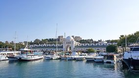 Rhodes Marina Mandraki Mall. A panoramic view of Rhodes Marina Mandraki Mall royalty free stock photo
