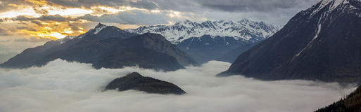 Panoramic view on Rhone valley - Switzerland. Stock Image
