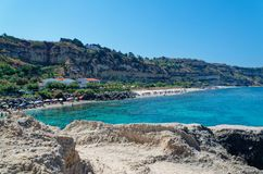 Panoramic view at Riaci beach located near Tropea, Italy. Panoramic view at Riaci beach against clear blue sky. Riaci beach is a very famous sand beach near royalty free stock image
