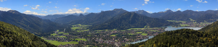 Panoramic view from riederstein mountain to alpine valley tegern Stock Photo