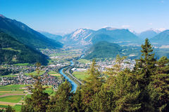 Panoramic view of Rietz, Telfs, Pfaffenhofen and the river Inn in Tyrol, Austria. Panoramic bird's eye view of the cities Rietz, Telfs, Pfaffenhofen and the Stock Photos