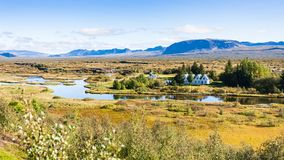 Panoramic view of rift valley in Thingvellir. Travel to Iceland - panoramic view of rift valley in Thingvellir national park in september Royalty Free Stock Image