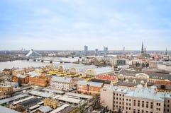 Panoramic view of Riga city, Latvia stock photo