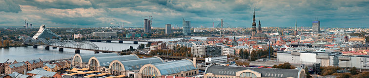 Panoramic view on Riga, Latvia Royalty Free Stock Photography
