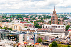 Panoramic view of Riga, with Latvian Academy of Sciences Royalty Free Stock Photo